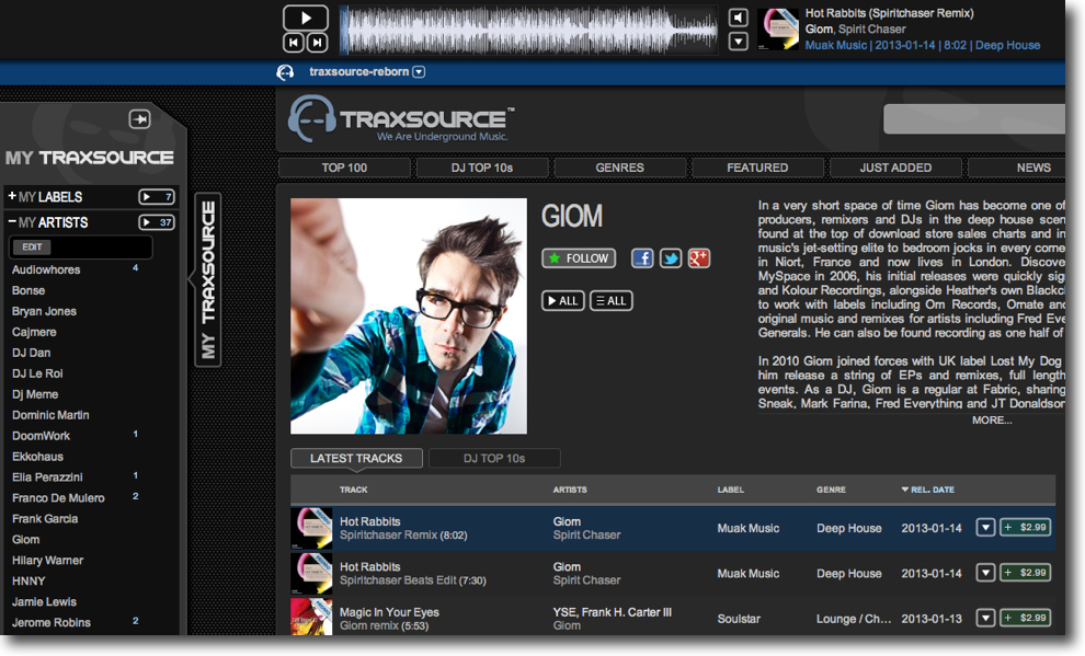 traxsource self managed charts and artist pages