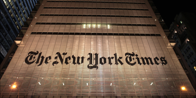 NEW YORK, N.Y. - A night time view of the exterior of the New York Times headquarters on 8th Avenue, 21 January 2013, Manhattan, New York. Photoby Oliver Morris/Getty Images